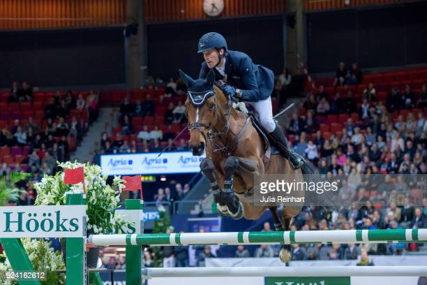 Swedish equestrian Henrik von Eckermann on Mary Lou 194 wins the FEI Longines World Cup jumping during the Gothenburg Horse Show in Scandinavium...