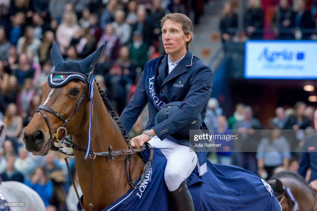 Swedish equestrian Henrik von Eckermann on Mary Lou 194 wins the FEI Longines World Cup jumping during the Gothenburg Horse Show in Scandinavium Arena on February 24, 2018 in Gothenburg, Sweden.