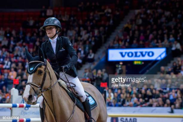 Swedish equestrian Irma Karlsson on Balahe rides in the Accumulator Show Jumping Competition during the Gothenburg Horse Show in Scandinavium Arena...