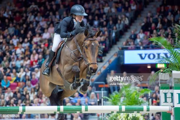 Swedish equestrian Irma Karlsson on Chacconu rides in in the Gothenburg Grand Prix Trophy during the Gothenburg Horse Show in Scandinavium Arena on...