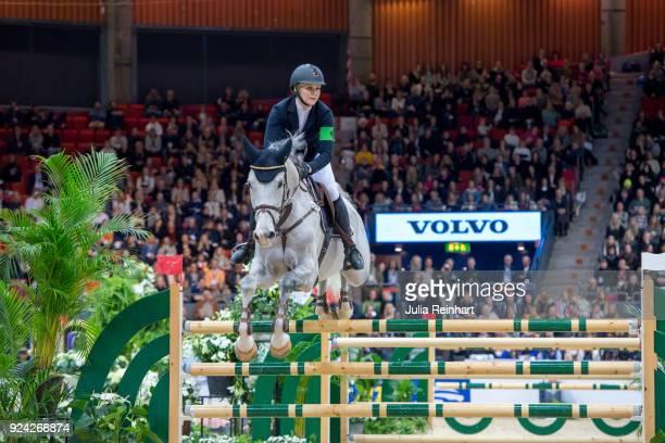 Swedish equestrian Karin Martinsen on Stenhaga Tulip Tattoo rides in in the Gothenburg Grand Prix Trophy during the Gothenburg Horse Show in...