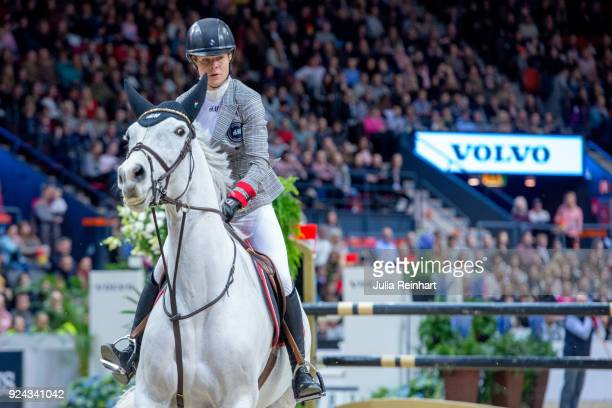Swedish equestrian Malin BaryardJohnsson on HM Second Chance rides in the Accumulator Show Jumping Competition during the Gothenburg Horse Show in...