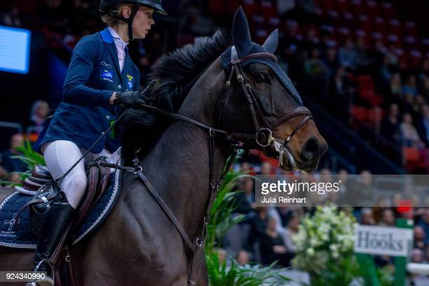 Swedish equestrian Matilda Pettersson on Cybelle rides in the Accumulator Show Jumping Competition during the Gothenburg Horse Show in Scandinavium...