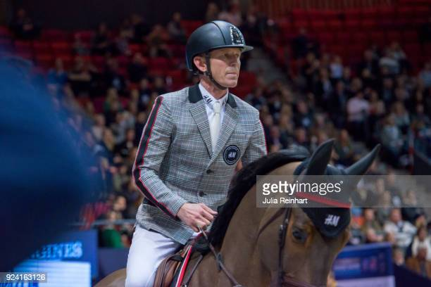 Swedish equestrian Peder Fredricson on HM Zaloubet rides in the FEI Longines World Cup jumping during the Gothenburg Horse Show in Scandinavium Arena...