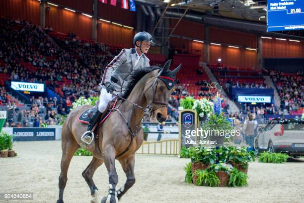 Swedish equestrian Peder Fredricson on HM Zaloubet rides in the Accumulator Show Jumping Competition during the Gothenburg Horse Show in Scandinavium...