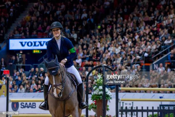 Swedish equestrian Rebecca Hallberg Fischer on Urco d'Hoyo rides in the Accumulator Show Jumping Competition during the Gothenburg Horse Show in...