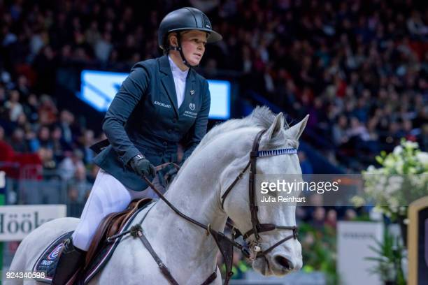 Swedish equestrian Stephanie Holmen on Clarence rides in the Accumulator Show Jumping Competition during the Gothenburg Horse Show in Scandinavium...