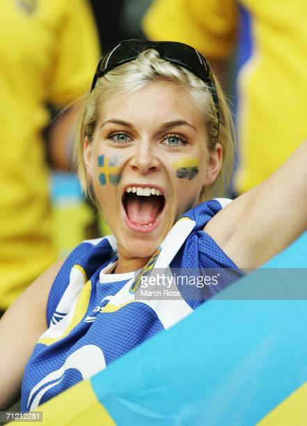 Swedish fan builds up the noise level prior to the FIFA World Cup Germany 2006 Group B match between Sweden and Paraguay played at the Olympic...