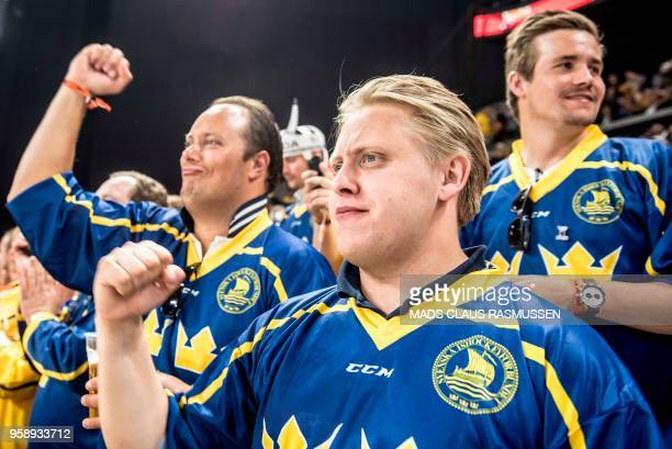 Swedish fans cheer during the IIHF World Championship group A ice hockey match between Russia and Sweden in Royal Arena in Copenhagen on May 15 2018...