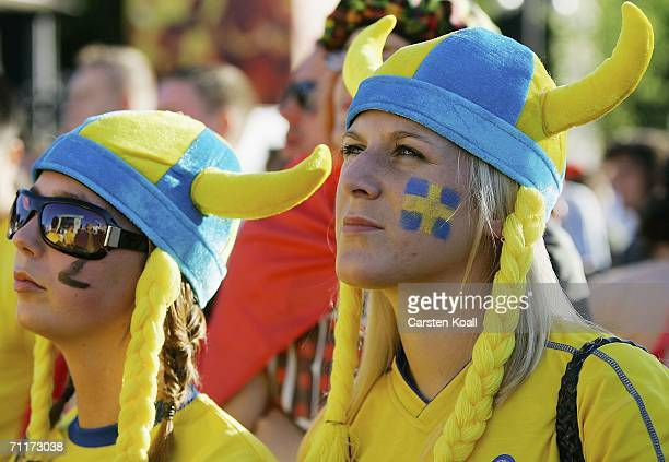 Swedish fans watch a live broadcast of the Sweden vs Trinidad and Tobago game during the World Cup June 10 2006 in Berlin Germany Hundreds of fans...