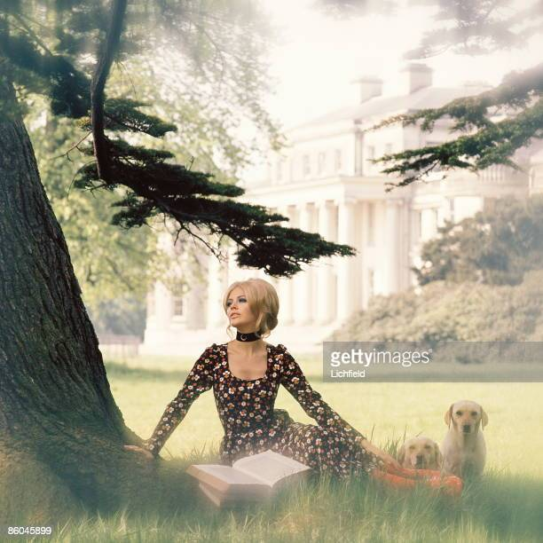 Swedish film actress Britt Ekland photographed in the gardens in front of Shugborough, ancestral home of The Earls of Lichfield, in Staffordshire, on...