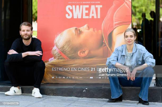 Swedish film director Magnus von Horn and Polish actress Magdalena Kolésnik attend 'Sweat' photocall at Cine Embajadores on May 17, 2021 in Madrid,...
