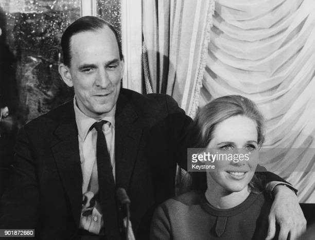 Swedish filmmaker Ingmar Bergman and his partner actress Liv Ullmann hold a press conference in Italy 27th February 1968