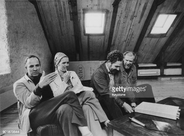 Swedish filmmaker Ingmar Bergman with his partner actress Liv Ullmann and Swedish actor Erland Josephson both of whom star in Bergman's television...