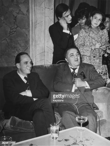 Swedish filmmaker Ingmar Bergman with Italian director Federico Fellini at a press conference in the Grand Hotel Rome circa 1969 The two planned a...