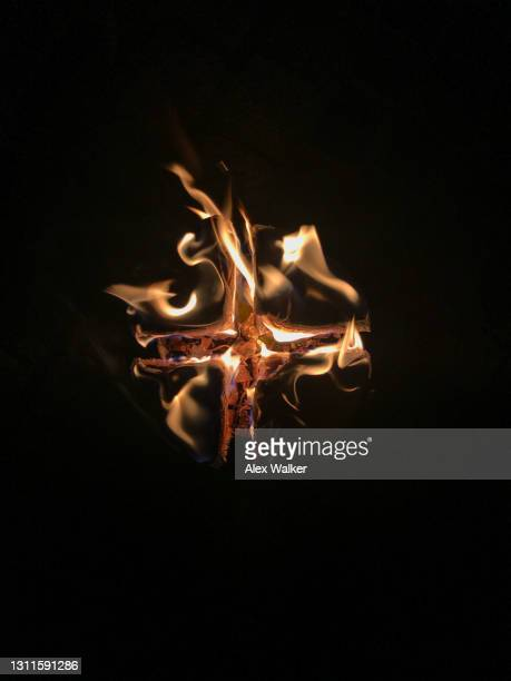 swedish fire log campfire. - warming up stock pictures, royalty-free photos & images