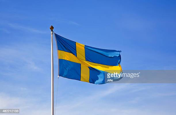 Swedish flag blowing in wind