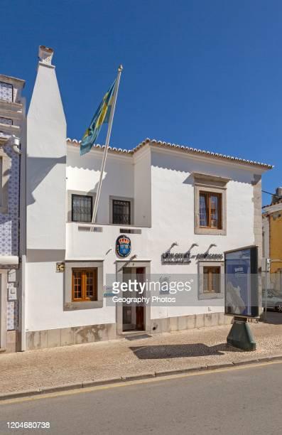 Swedish flag flying consulate building for Sweden, Tavira, Algarve, Portugal, southern Europe.