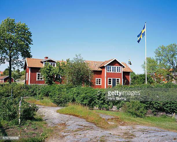 Swedish flag in front of house
