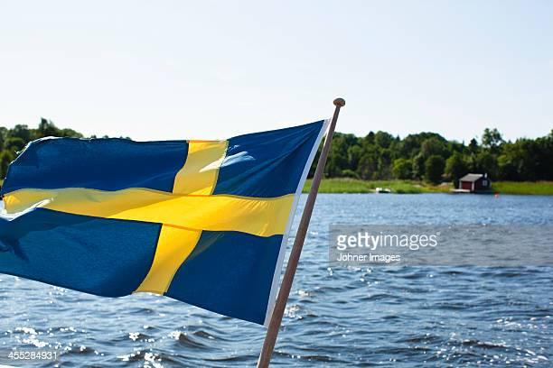 Swedish flag on boat, close-up