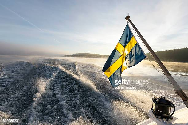 Swedish flag on boat