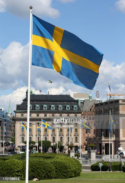 Swedish flag outside the Royal Palace ahead of the wedding of Princess Madeleine of Sweden and Christopher O'Neill that will take place later today...