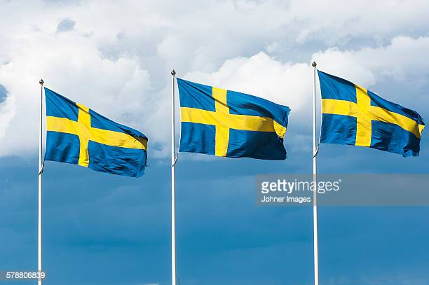 Swedish flags against sky