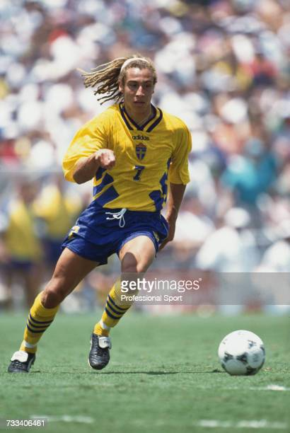 Swedish footballer Henrik Larsson pictured in action playing for Sweden in the 1994 FIFA World Cup knockout stage in July 1994 Sweden would lose to...