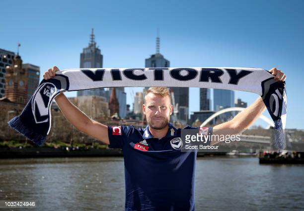 Swedish footballer Ola Toivonen poses during a Melbourne Victory ALeague media opportunity on September 13 2018 in Melbourne Australia Toivonen has...