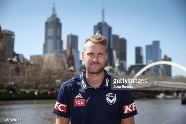 Swedish footballer Ola Toivonen poses during a Melbourne Victory ALeague media opportunity on September 13 2018 in Melbourne Australia Toivonen has...