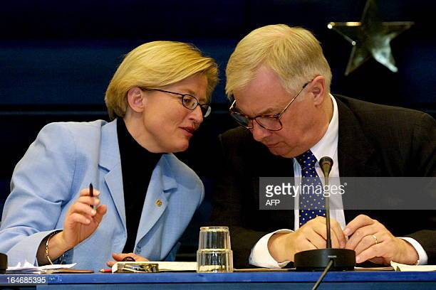 Swedish Foreign Minister Anna Lindh and Chris Patten EU Commissioner for External Affairs pictured during the opening session of the European Union's...