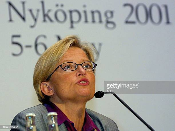 Swedish Foreign Minister Anna Lindh gives a speech 04 May 2001 during a press conference where she presented the informal meeting of the European...