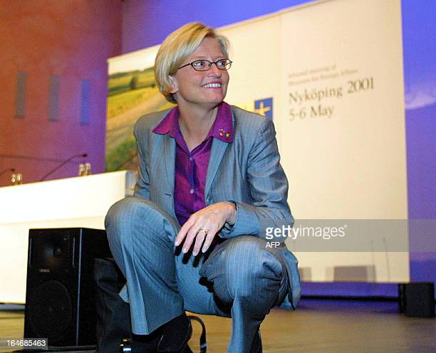 Swedish Foreign Minister Anna Lindh leaves 04 May 2001 after a press conference where she presented the informal meeting of the European Foreign...