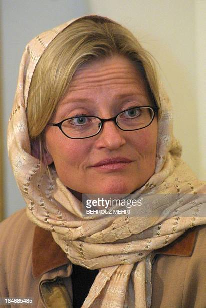 Swedish Foreign Minister Anna Lindh looks on upon her arrival at Tehran airport 16 April 2002 Lindh arrived in Iran in an official visit AFP...