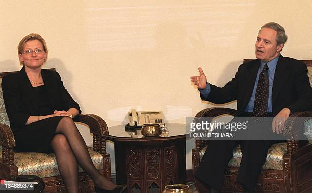 Swedish Foreign Minister Anna Lindh meets with Syrian Foreign Minister Faruq alShara 05 April 2000 in Damascus after a trip to Cairo and Beirut Lindh...