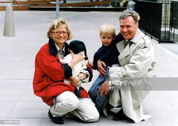 Swedish Foreign Minister Anna Lindh poses with her husband Bo Holmberg their son Daniel and their baby in a 1994 photo Lindh was stabbed in an attack...