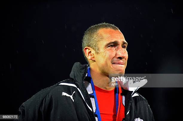 Swedish forward Henrik Larsson of Helsingborg reacts after he is thanked by his fans after his last soccer match a Swedish league match between...