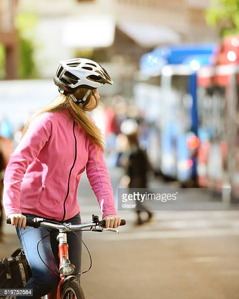 Swedish girl and bicycle in traffic