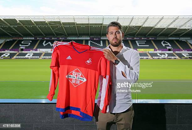 Swedish Goalkeeper Kristoffer Nordfeldt is unveiled as a new signing by Swansea City FC at the Liberty Stadium on June 23, 2015 in Swansea, Wales.