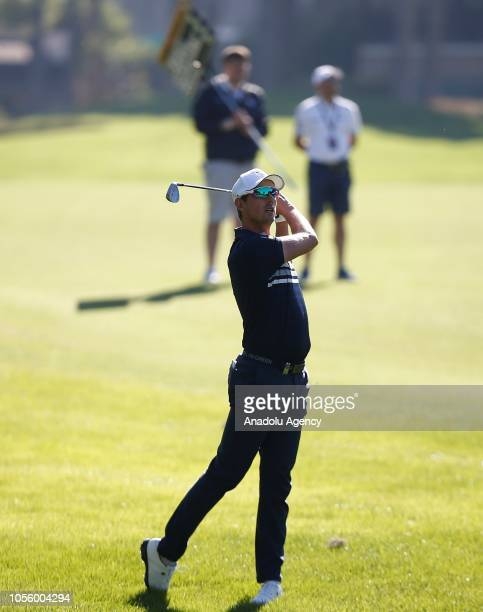 Swedish golf player Alexander Bjork competes on the first day of Turkish Airlines Antalya Open 2018 on November 01 2018 at Belek Tourism center in...
