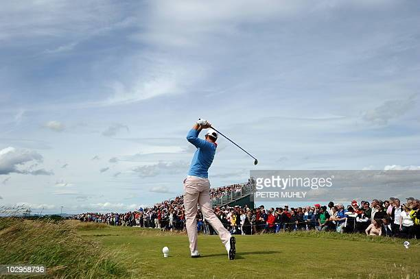 Swedish golfer Henrik Stenson plays from the tee during his final round on day four of the British Open Golf Championship at St Andrews in Scotland...