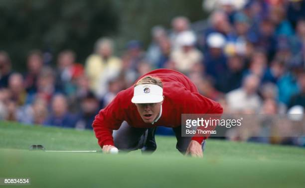 Swedish golfer Joakim Haegmann lining up a putt during the Ryder Cup golf tournament held at The Belfry, England during September 1993. The USA...