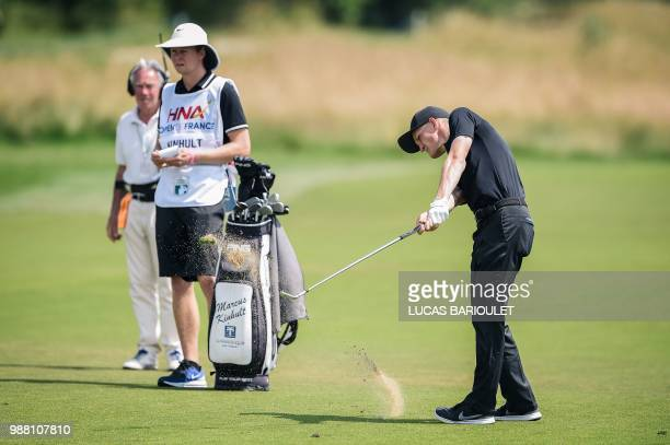 Swedish golfer Marcus Kinhult competes in the HNA Open de France as part of the European Tour 2018 at the SaintQuentinenYvelines national golf course...