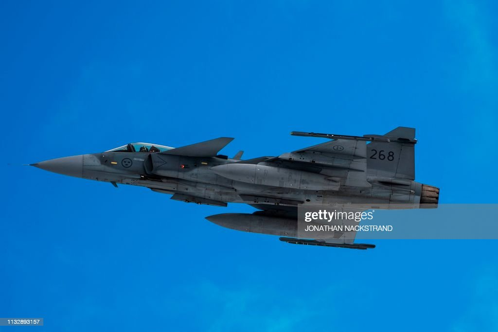 A Swedish Gripen jet takes part in joint exercises between the