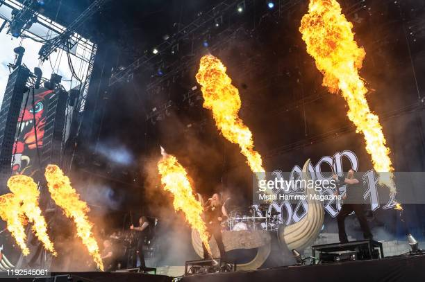 Swedish heavy metal group Amon Amarth performing live on stage during Download Festival at Donington Park on June 16 2019