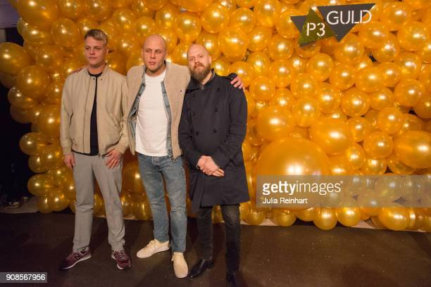 Swedish hip hop artist Mwuana arrives with two friends at the P3 Guld Gala Swedish Radio's celebration of the best in Swedish Music on January 20...