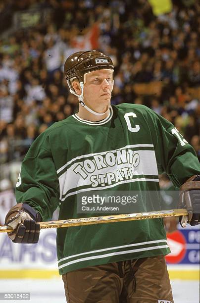 Swedish hockey player Mats Sundin center and captain of the Toronto Maple Leafs wears a Toronto St Pats throwback jersey on the ice during a home...