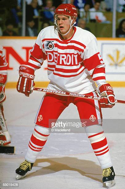 Swedish hockey player Nicklas Lidstrom defenseman for the Detroit Red Wings wears an Original Six throwback jersey on the ice during a game against...