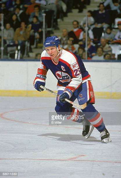 Swedish hockey player Thomas Steen of the Winnipeg Jets on the ice during a game against the New York Islanders at Nassau Coliseum, Uniondale, New...