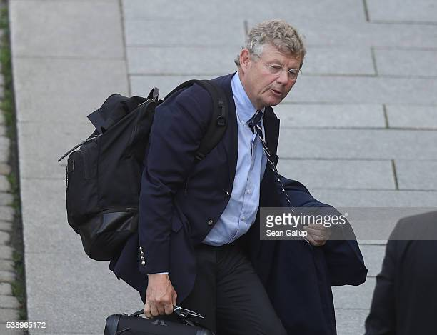 Swedish industrialist Jacob Wallenberg arrives at the Hotel Taschenbergpalais Kempinski Dresden for the 2016 Bilderberg Group conference on June 9...